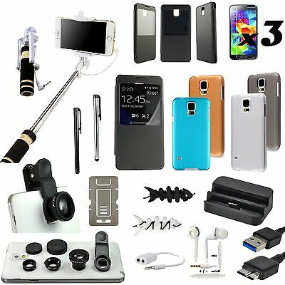 All in 1 Accessory Case Charger Monopod Fish Eye Lens For Samsung Galaxy S5