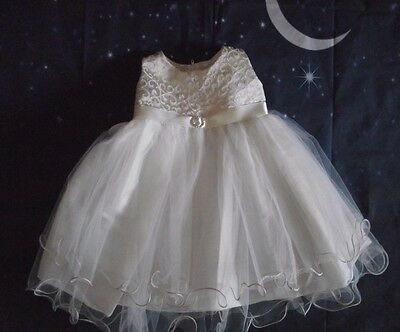 Baby Girls  Ivory Diamante Buckle Occasion Christening Wedding Dress by Kinder