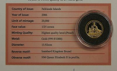 "2006 Falkland Is 1/25oz 0.999 Gold coin ""Brunel"" in Capsule with COA  (V7/25)"