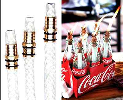 3 Pack: Wine Bottle Tiki Torch Kit - Includes 3 Tiki Torch Wicks and Brass Wick