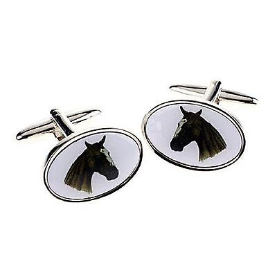 Oval Horse Head Pony Equine Cufflinks Stainless Steel Gift Mens Jewellery Boxed