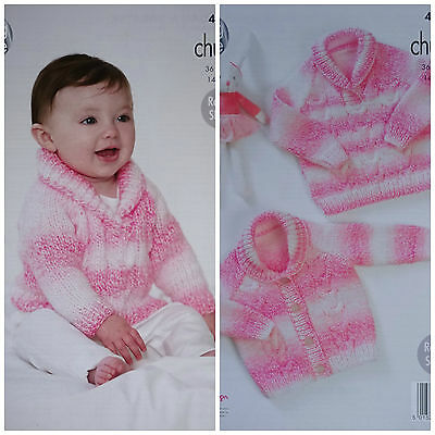 Baby KNITTING PATTERN Babies Cable Cardigan & Cable Jumper Chunky King Cole 4579