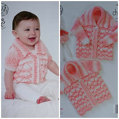 Baby KNITTING PATTERN Babies Lacy Cardigan & Matinee Coat Chunky King Cole 4581