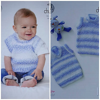 Baby KNITTING PATTERN Babies Easy Knit Sleeveless Jumpers Chunky King Cole 4583
