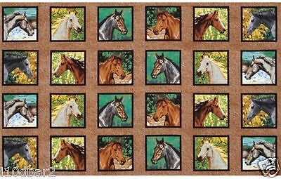 HORSE FABRIC PANEL ENDLESS SUMMER fabric  HORSE 24 quilting blocks NEW