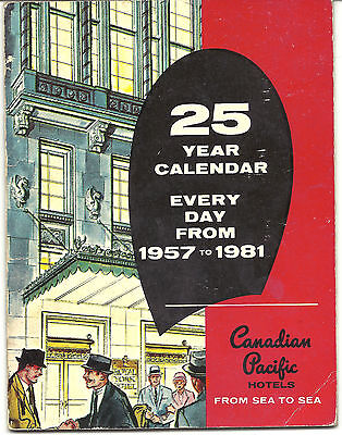 25 Year Calendar 1957-81 - Canadian Pacific Hotels