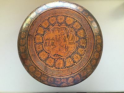 Chinese Antique Wood Basket With Beatiful Painted