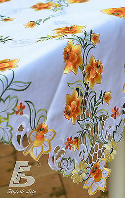Square Table Cloth, Embroidered Orange Daffodils, 90x90cm (36x36in) FFDWY52