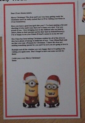a5 personalised minions letter envelope from santa a5 for