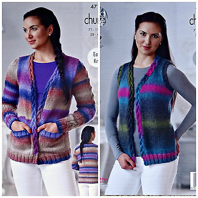 KNITTING PATTERN Ladies Easy Knit Cable Edge Cardigan & Waistcoat Chunky 4716