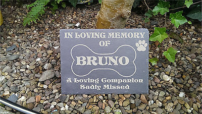 Personalised Laser Engraved Slate Pet Memorial Marker Cat Dog Any Other Pet #1