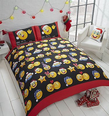 Christmas Icons Emoji Smiley Face Festive Xmas Bedding Duvet Cover Reversible