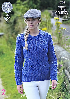KNITTING PATTERN Ladies Textured Cable Jumper & Cardigan Super Chunky 4708