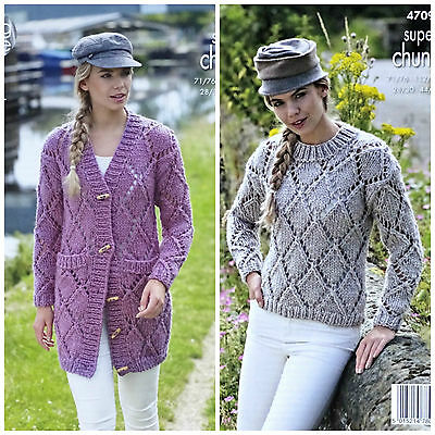 KNITTING PATTERN Ladies Long Sleeve Lace Jumper Super Chunky King Cole 4709