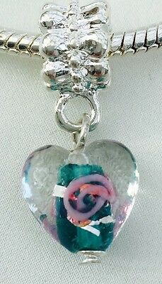 Silver & Murano Glass Dangle Heart Bead Pink Blue