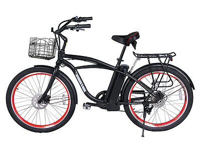 Black Electric Beach Cruiser Bike w/ Rack & Basket Bicycle Ebike Lithium 24V New