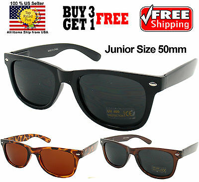 BOYS GIRLS JUNIOR SIZE MULTI COLORS CLASSIC RETRO WAYFARER SUNGLASSES SHADES50mm