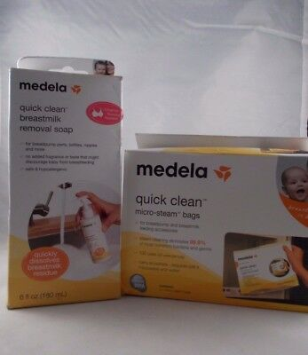Medela Micro Steam Bags & Breastmilk Removal Soap  ~ 2 Piece Set