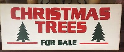 Christmas TREES For SALE Sign Plaque Farmhouse Chic Fixer Upper Style Wood