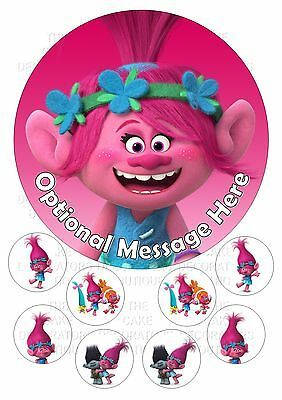 "Trolls Poppy Round Iced / Icing Personalised Cake Topper 7.5"" + Cupcake Tops"
