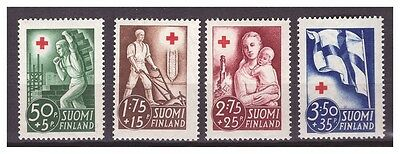 34199) FINLAND 1941 MNH** Red Cross 4v (3,5+35P WITH PAPER SPOT AT THE BACK)