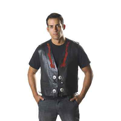 Osx Cowhide Leather Motorcycle Motorbike Biker Vest Waistcoat With Red Flame 206
