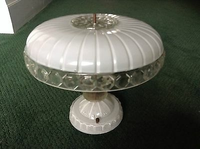 Antique Cream Color Glass Ceiling Light Fixture Chandelier Authentic Original