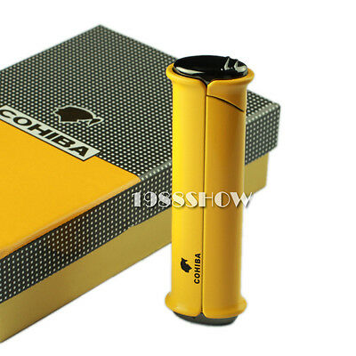 Hot COHIBA Yellow Metal Wind-Proof 1 Torch Jet Flame Cigar Cigarette Lighter