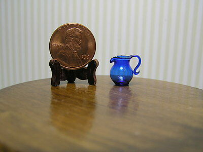 "Miniature Dollhouse Small Blue Pitcher 1:24 1/2"" Scale"