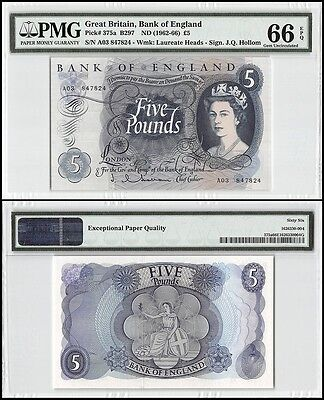Great Britain 5 Pounds, ND 1962-66, P-375a, UNC, Laureate Heads, PMG 66 EPQ