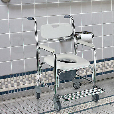 HOMCOM Transit Wheeled Mobility Commode Toilet Medical Castors Chair 4 Brakes