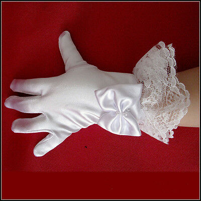 Girl Wedding Flower Party Kid Lace Pearl White Gloves First Communion Fashion XC