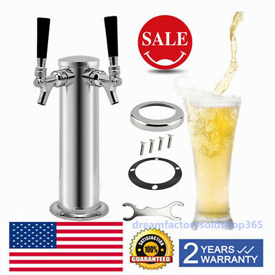 Double 2Tap Stainless Steel Faucet Draft Beer Tower Bar Homebrew f/ Kegerator US