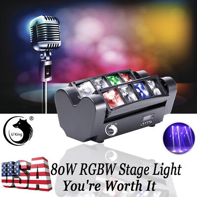U`king RGBW 80W Spider Beam Moving Head Stage Lighting DMX Wedding Disco Party
