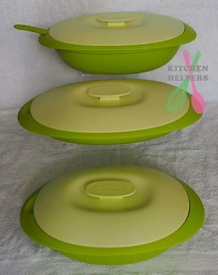 Tupperware Blossom Microwave Companion Serving Dishes & colander Set of 3- Green