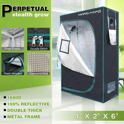 Mars Hydro 4'x2'x6' Reflective Mylar 1680D Grow Tent Room Indoor Plants Growing