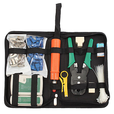Network Cable Tester Pliers LAN Plug Wire Crimp RJ45 RJ11 CAT5 Analyzer Tool Kit