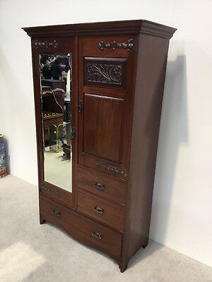Art Nouveau Art & Crafts Compactum Wardrobe Combination Wardrobe Mahogany