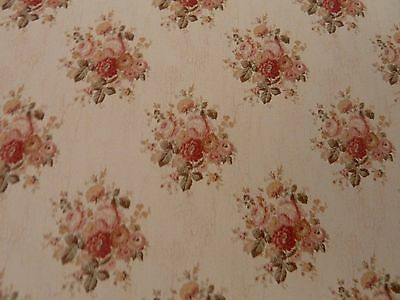 Dolls House Miniature 1:12 Scale Robin Floral Peach Wallpaper
