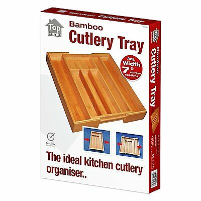 Wooden Bamboo Cutlery Tray Extendable Kitchen Storage Compartment Organiser
