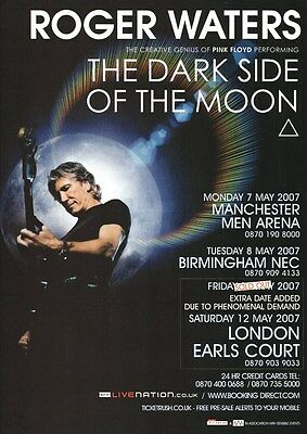 Pink Floyd - Roger Waters Dark Side Of The Moon Tour Dates 2007 - A4 Photo Print