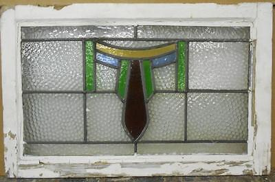 "MID SIZED OLD ENGLISH LEADED STAINED GLASS WINDOW Pretty Abstract 26.5"" x 17"""