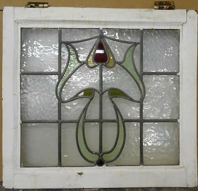 "MID SIZED OLD ENGLISH LEADED STAINED GLASS WINDOW Stunning Floral 24"" x 22"""