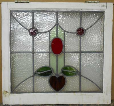 "MID SIZED OLD ENGLISH LEADED STAINED GLASS WINDOW Sweet Floral 23.75"" x 22"""