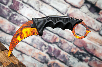 Orange Camo Tactical Combat Karambit Knife Survival Hunting Fixed Blade