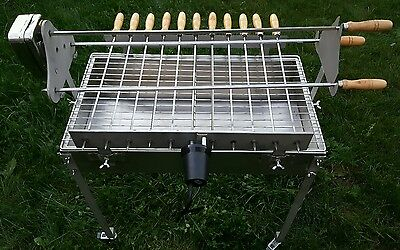 Cyprus Style Rotisserie Stainless Steel Charcoal Bbq 14 Rotating Skewers 2 Motor