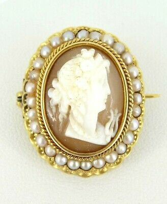 Beautiful 18ct Gold Cameo & Pearl Brooch. Vintage. NICE1