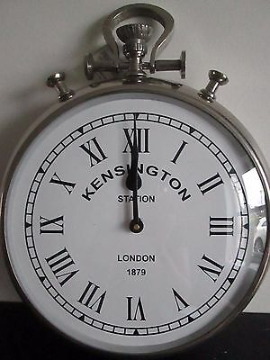 LARGE Vintage Inspired Silver Effect Pocket Watch Wall Clock Diameter 34cm NEW