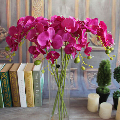 Artificial Fake Silk Flower Phalaenopsis Butterfly Orchid Home Wedding Decor