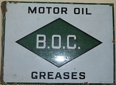 Vintage Porcelain Enamel Sign Double Side B.O.C. Motor Oil,Greases,Bruton London • CAD $371.69